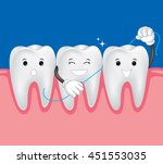 teeth with dental floss for... | Shutterstock .eps vector #451553035