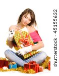 girl sit with many gift boxes - stock photo