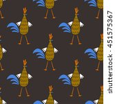 seamless pattern with roosters. ... | Shutterstock .eps vector #451575367