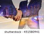 double exposure of business... | Shutterstock . vector #451580941