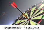 dart arrows in bulls eye of... | Shutterstock . vector #451582915