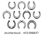 Stock vector lucky horseshoes icons with decorative ornaments of nail holes figured toes and rounded heels 451588837
