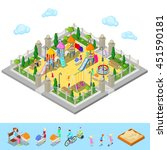 isometric children playground... | Shutterstock .eps vector #451590181