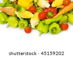 various vegetables isolated on...   Shutterstock . vector #45159202