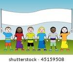 children with banner | Shutterstock . vector #45159508