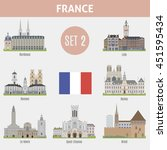 famous places cities in france. ... | Shutterstock .eps vector #451595434