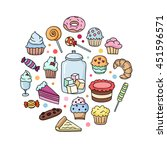 sweet desserts hand drawn icons.... | Shutterstock .eps vector #451596571