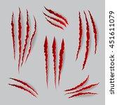 vector cat claws marks set.... | Shutterstock .eps vector #451611079