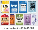 retro baggage tags and travel... | Shutterstock .eps vector #451615081