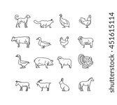 farm animals vector thin line... | Shutterstock .eps vector #451615114