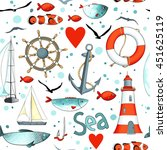 vector sea pattern with... | Shutterstock .eps vector #451625119