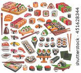 colorful sushi and rolls set....   Shutterstock .eps vector #451628344