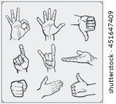 set of people hands. different... | Shutterstock .eps vector #451647409