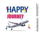 flying airplane with happy... | Shutterstock .eps vector #451652077