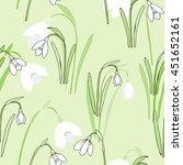 seamless pattern with snowdrops.... | Shutterstock . vector #451652161