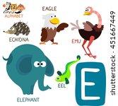 cute animal zoo alphabet.... | Shutterstock .eps vector #451667449