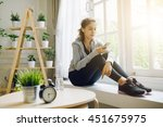 woman fitness model resting... | Shutterstock . vector #451675975