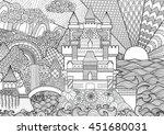zendoodle castle landscape for... | Shutterstock .eps vector #451680031