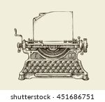 hand drawn vintage typewriter.... | Shutterstock .eps vector #451686751