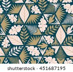 vector seamless tropical plants ... | Shutterstock .eps vector #451687195