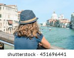 travel dream photo  a girl in... | Shutterstock . vector #451696441