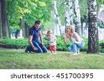 happy family having weekend in... | Shutterstock . vector #451700395