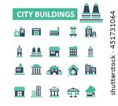 city buildings icons | Shutterstock .eps vector #451731064