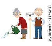 happy cartoon gardeners... | Shutterstock .eps vector #451742494