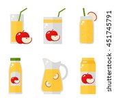 apple juice isolated icons on... | Shutterstock .eps vector #451745791