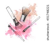 makeup brush with smear on... | Shutterstock . vector #451748221