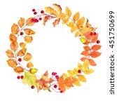 watercolor wreath of autumn... | Shutterstock . vector #451750699