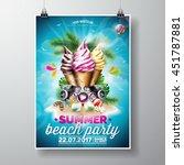 vector summer beach party flyer ... | Shutterstock .eps vector #451787881
