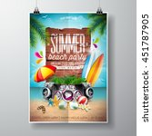 vector summer beach party flyer ... | Shutterstock .eps vector #451787905