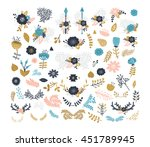 vector floral elements. flowers ... | Shutterstock .eps vector #451789945