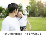 asian father take care of... | Shutterstock . vector #451793671
