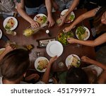 people making food in home and... | Shutterstock . vector #451799971