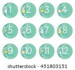 vector twelve months sticker... | Shutterstock .eps vector #451803151