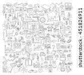 hand draw doodle elements.... | Shutterstock .eps vector #451826911