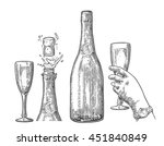 bottle of champagne explosion... | Shutterstock .eps vector #451840849
