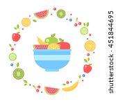 flat fresh fruits collection... | Shutterstock .eps vector #451844695