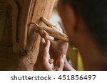 close up potter artist working... | Shutterstock . vector #451856497