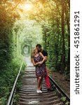 loving couple in a tunnel of... | Shutterstock . vector #451861291