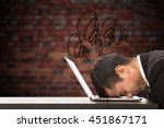 Small photo of Overwhelmed stress businessman overload feeling on the computer laptop.