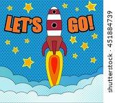 comic cartoon of rocket launch. ...   Shutterstock .eps vector #451884739