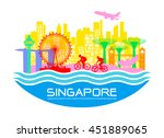 beautiful singapore travel...   Shutterstock .eps vector #451889065