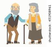 elderly people support each... | Shutterstock .eps vector #451908961