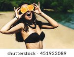 young beautiful funny summer... | Shutterstock . vector #451922089