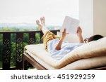 rear view of asian man relaxing ...   Shutterstock . vector #451929259