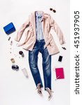 collection of women's clothing... | Shutterstock . vector #451937905