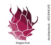 dragon fruit icon. flat color...